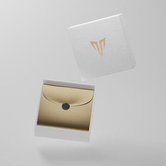 Mockup di porta biglietti da visita bianco per il rendering 3d di identità di marca