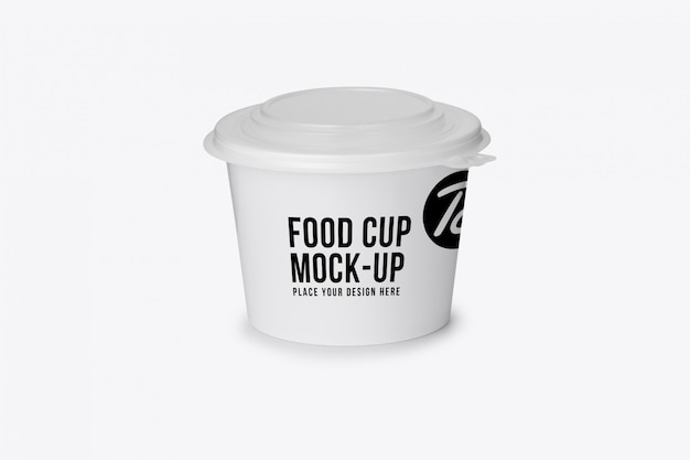Modello di mockup di tazza di cibo in carta cartone bianco