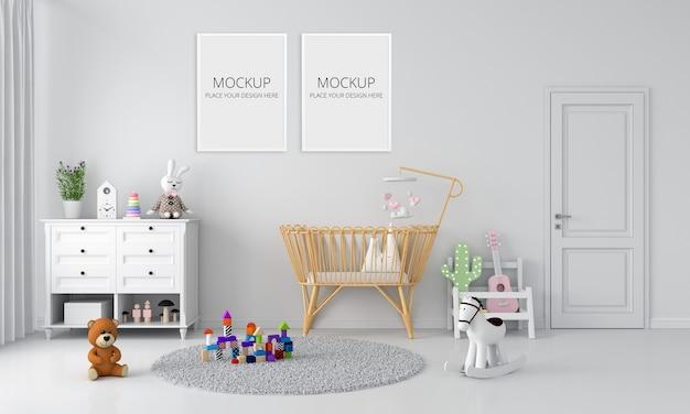 Interno camera da letto bambino bianco per mockup