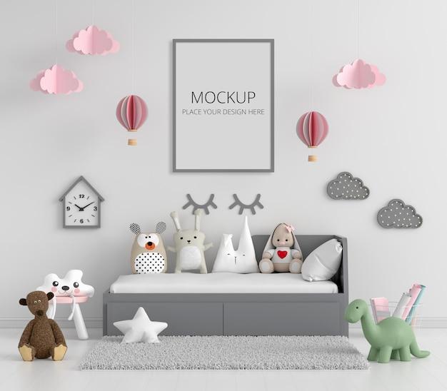 Camera da letto bianca per bambini con mockup di cornice