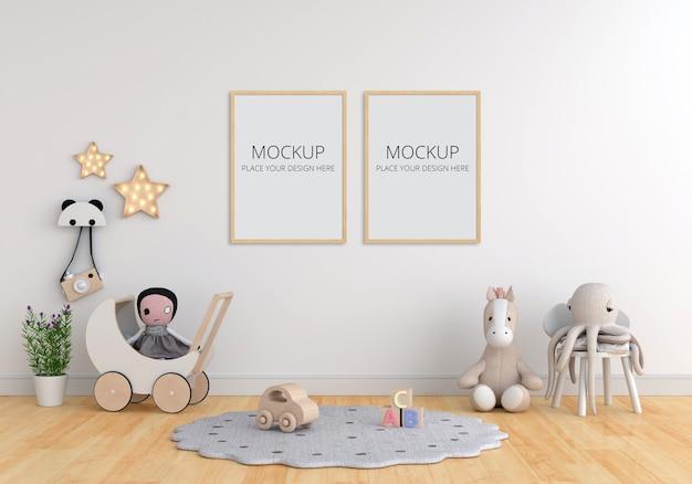 Camera bianca per bambini con mockup di cornice