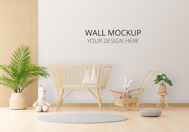Stanza bianca per bambini con mockup a parete