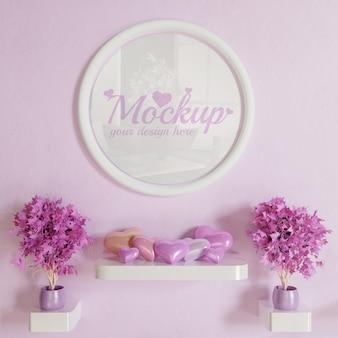 Mockup di cornice cerchio bianco sul muro rosa con decorazione a sospensione a forma di cuore