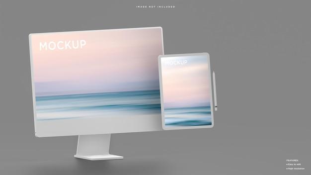 Computer desktop in argilla bianca e mockup tablet intelligente per il rendering 3d di presentazione ufficiale moderna