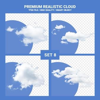 Insieme realistico della nuvola bianca per cielo blu