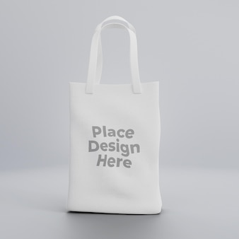 Mockup di tote bag realistico in tessuto bianco