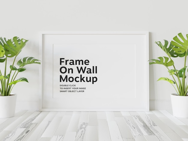 Cornice bianca appoggiata al muro mockup