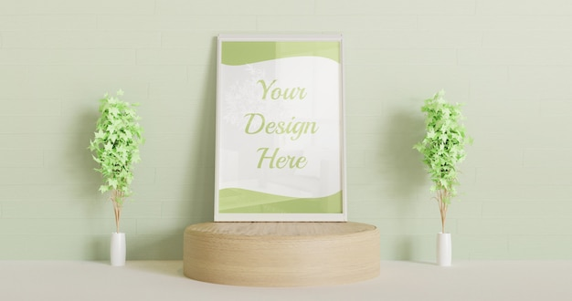 Mockup di cornice bianca in piedi sul podio in legno con pianta decorativa coppia e parete verde