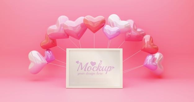 Mockup di cornice bianca con palloncino a forma di cuore in colore rosa
