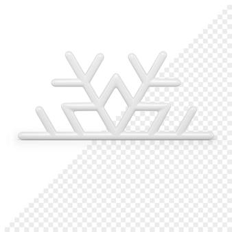 Il fiocco di neve di natale mezzo lucido bianco 3d rende. decorazione minimalista della celebrazione delle vacanze invernali. ornamento festivo glitter decorativo. saluto figurina brillante in stile invernale.