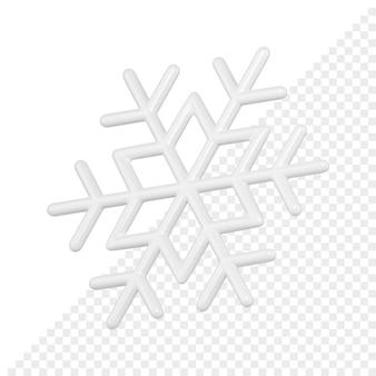 Il fiocco di neve minimalista lucido bianco 3d rende.