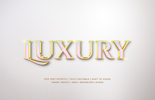 Effetto di lusso dello stile del testo 3d dell'oro bianco