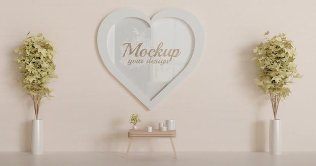 Mockup di cornice a forma di cuore bianco sul muro. mockup cornice d'amore.
