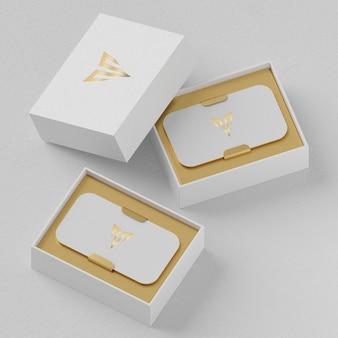 Mockup di porta biglietti da visita bianco per rendering 3d di identità di marca