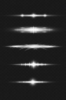 Pacchetto di riflessi sull'obiettivo bianco nel rendering 3d
