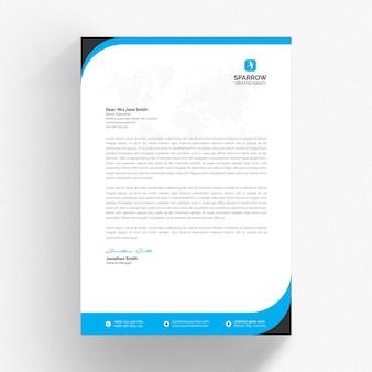Modello di carta intestata bianco con dettagli ondulati blu