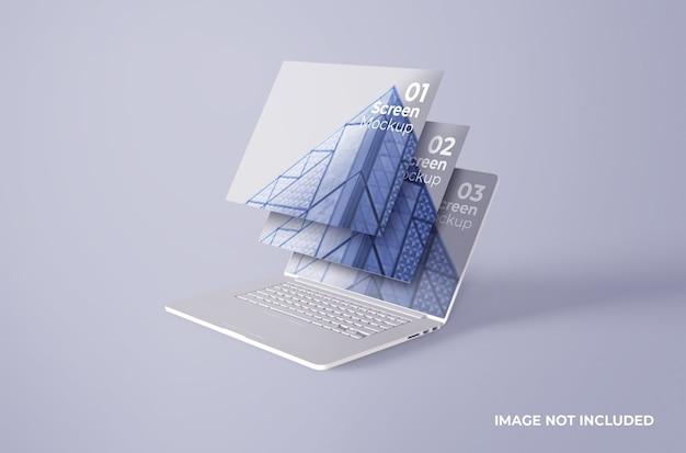 Mockup di schermo di argilla pro macbook bianco