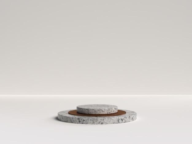 Rendering bianco e marmo del podio a forma di geometria della scena astratta per l'esposizione del prodotto