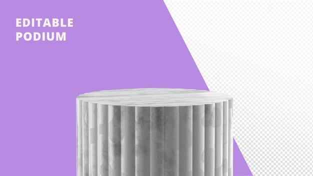 Rendering del podio in pietra di marmo bianco