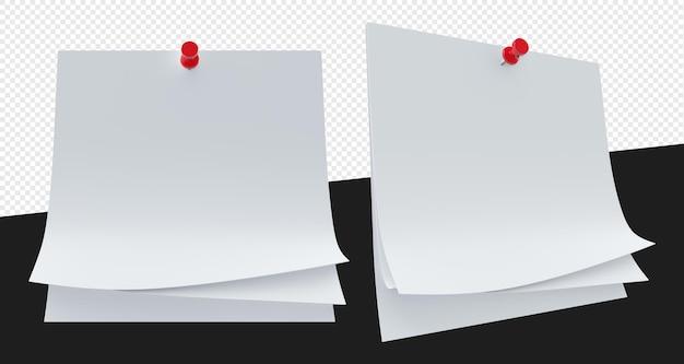 Promemoria di carta bianca o note con ago isolato