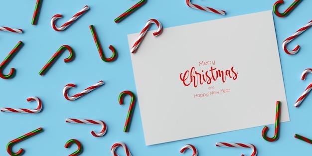 Modello di carta bianca su sfondo blu con bastoncino di zucchero natalizio, illustrazione 3d