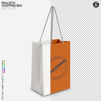 White paper shopping bag mockup design isolato