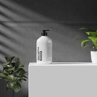 Mockup di bottiglia di sapone in plastica bianca
