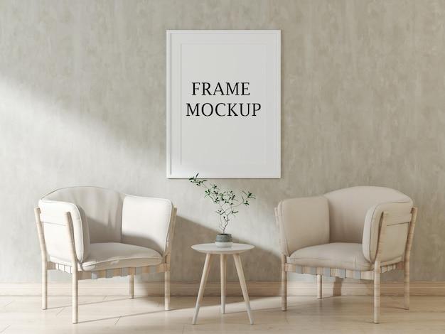 Mockup di cornice per poster bianca per le tue foto