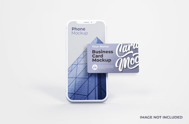 Smartphone bianco con mockup di biglietti da visita