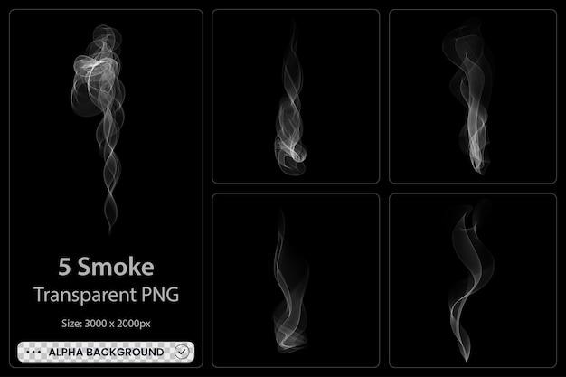 Set trasparente fumo bianco su sfondo nero