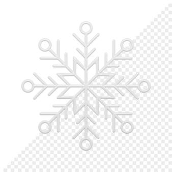 Rendering 3d di fiocchi di neve bianchi con ornamenti di cristallo di natale