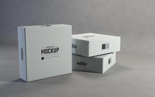 Mockup di scatole di cartone quadrate bianche