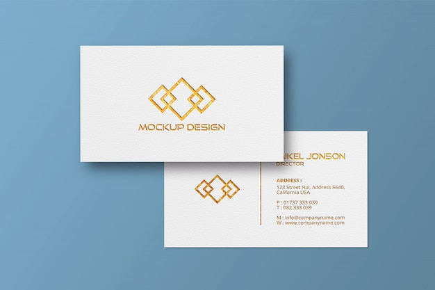 Biglietto da visita in stile bianco golden logo mockup