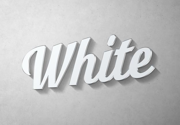 Effetto di testo bianco con mockup in stile 3d in metallo