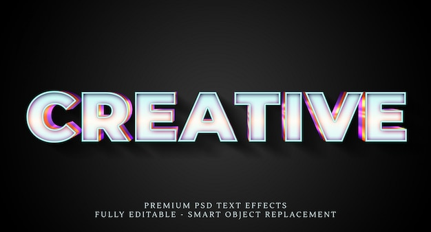 Effetto testo bianco stile psd, effetti testo psd premium