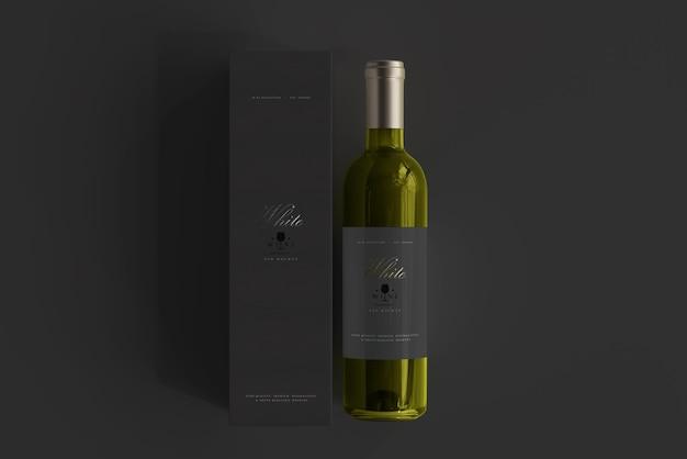 Bottiglia di vino bianco con scatola mockup