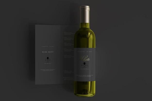 Bottiglia di vino bianco con menu mockup