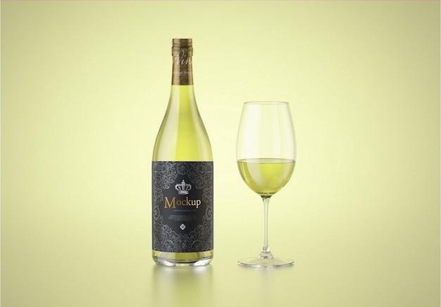 Vino bianco con bottiglia di vetro mockup