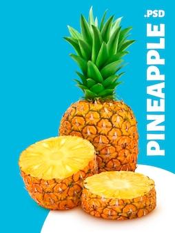 Banner di ananas intero ed affettato