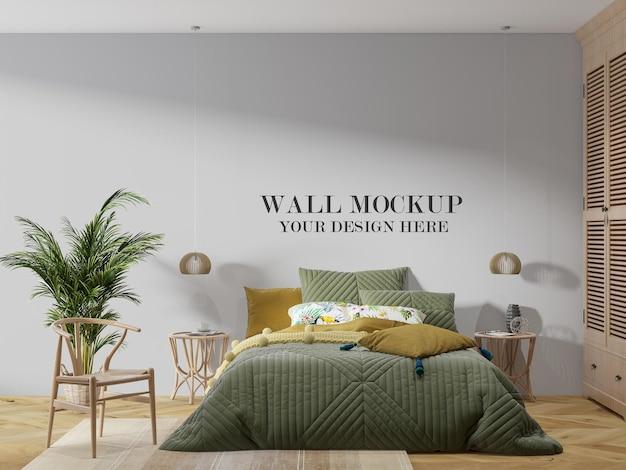 Mockup della parete della camera da letto in vimini