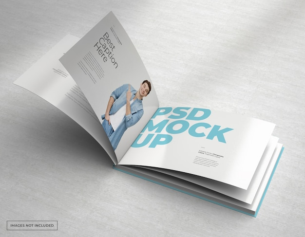 Ampia brochure mockup con pagine interne