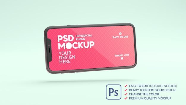 Mockup di telefono a schermo ampio che galleggia su uno sfondo verde nel rendering 3d