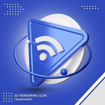 Rendering 3d dell'icona di rete wi-fi