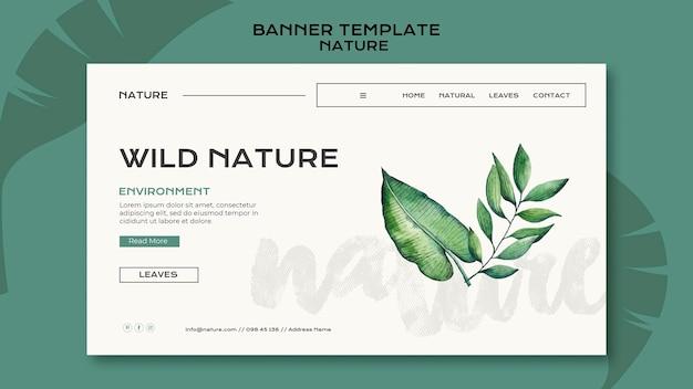 Modello di banner orizzontale di natura selvaggia