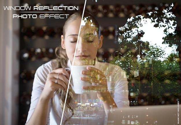 Effetto fotografico di riflessione di vetro della finestra mockup