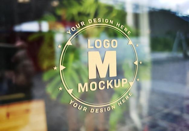 Mockup effetto testo segnaletica finestra
