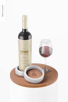 Mockup di sottobicchiere di bottiglia di vino
