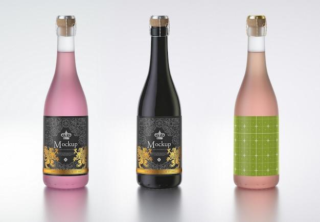 Bottiglia di vino colorato mockup