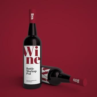 Bottiglia di vino mockup premium psd