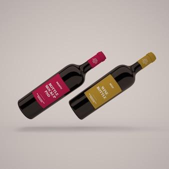 Mockup di bottiglie di vino psd